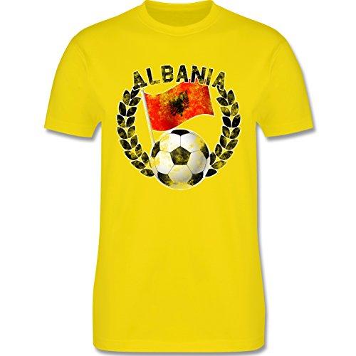 EM 2016 - Frankreich - Albania Flagge & Fußball Vintage - Herren Premium T-Shirt Lemon Gelb