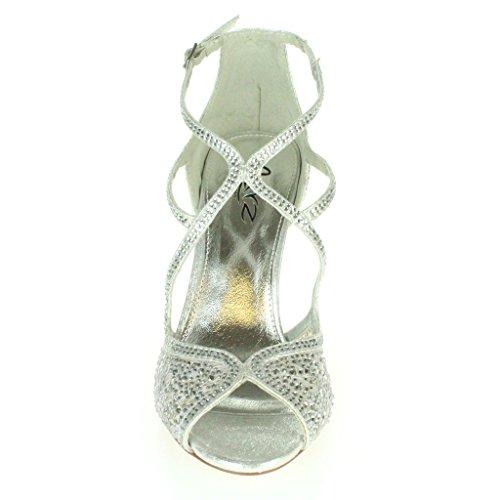 Frau Damen Diamante Hohe Absatz Peep Toe Querriemen Braut Abend Hochzeit Party Prom Sandale Schuhe Größe Silber