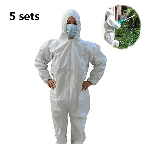 Einweg-Schutzanzug, mit elastischen Manschetten an der Kapuze für PSA-Automaten, einzeln verpackter Anzug White Medium 5,XXXL - Maler-stiefel