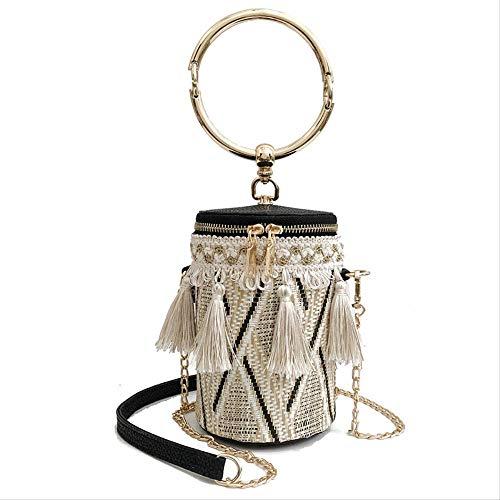 Bucket Bag Einfache Und Elegante One-Shoulder-Schräge Promi-Handtasche Schwarz