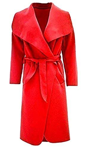Damen Mantel Kim Kardashian Übergroße Wasserfall Jacke Mit Gürtel Neu - Eine Größe, Rot Luxe Blouson