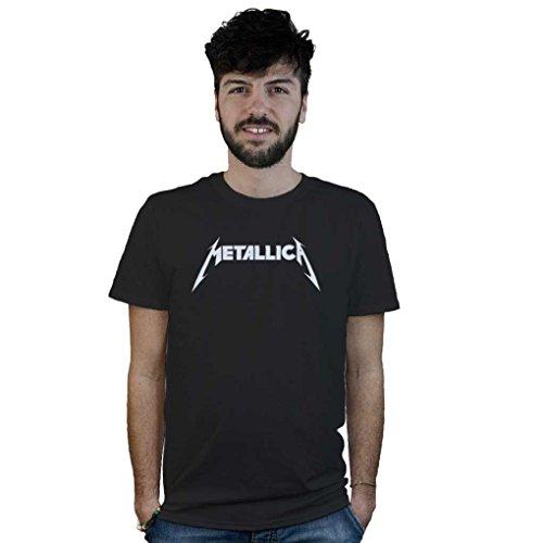 T-Shirt Metallica, maglietta nera con scritta bianca, musica heavy metal, trash