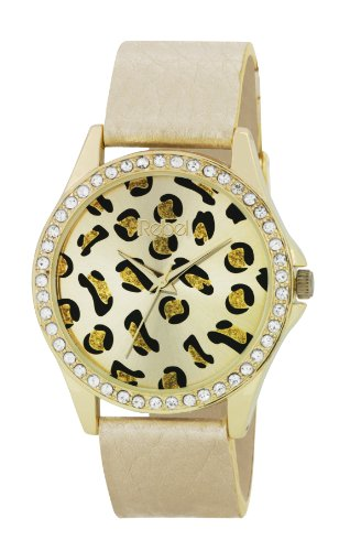 Rebel Damen-Armbanduhr Analog Quarz Kunststoff gold REB2020 (Rebel Leopard)