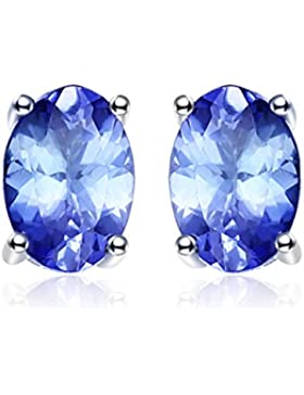 JewelryPalace 925 Sterling Silber 1ct natürliche Tansanit Ohrstecker