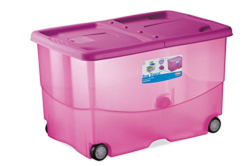 Kreher XL Aufbewahrungsbox, Rollbox aus Kunststoff in Transparent/Pink. Deckel zu Zwei Seiten...