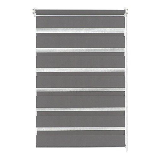 MCTECH® Doppelrollo Duo Rollo Klemmfix ohne Bohren Fenster-Rollo Springrollos mit Klemmträger (80 x 150 cm, Grau)
