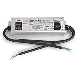 Mean Well ELG-150-24B - Fuente de alimentación conmutada (24 V, 0-6,25 A, 150 W, IP67, intensidad regulable)