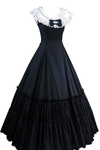 Joycorner-Lolita-Vestido-Negro-Blanco-Sin-Manga-de-Algodn-con-estilo-retro-noble405