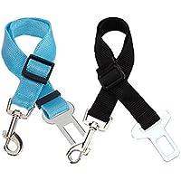 TOOGOO(R) 2X Perro Gato Mascota del coche de seguridad del cinturon de seguridad del arnes de sujecion plomo Collar Viajes Ajustable - Negro Azul