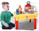 Modbrix - Mesa de Juegos con Bloques de construcción Grandes y 2 Placas de construcción integradas con Caja de Piedra