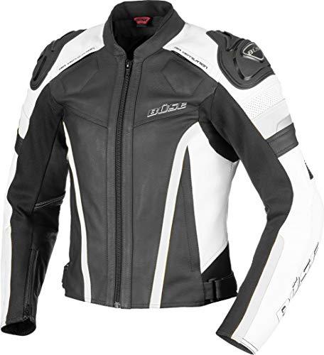 Büse Monza Damen Motorrad Lederjacke Schwarz/Weiß 40