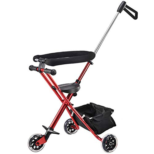 Multifunktions-Rutschbaby-Artefakt-Kinder-Dreirad-Trolley Einfach Leicht Klappbarer Kinderwagen Rot