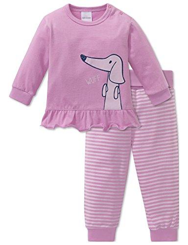 Schiesser Mädchen Zweiteiliger Schlafanzug Puppy Love Baby Anzug 2-teilig Rot (Rosa 503) 74