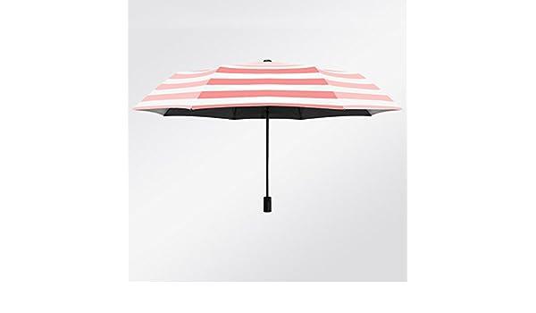 Bleu Beige ray/é Soleil Parasol Section Manuelle Romantique ensoleill/é Rayures Parapluie Automatique Trois Pliage Soleil ombrelle Ombre Parasol cr/ème Solaire UV Colle Noir et Blanc