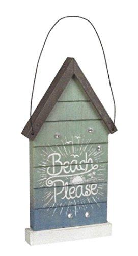 GLR Everyday Coastal, Beach Bitte Nachricht, House Form Draht, Wandschild ist 85/8in H x 45/8in L x 1in D, pastell Ombre Licht Sea grün bis Lagoon hellblau mit Glitzer Glanz und Edelsteine -