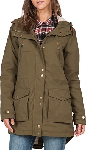 Volcom Damen Jacke Walk on By Parka Lentil Green, L Volcom Snowboard-outerwear