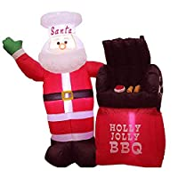 AUED Christmas Inflatable Model, 59 Inches Santa Claus Oven Inflatable with Built Fan LED Light for Garden Ornaments Indoor Outdoor Party Stage Prop