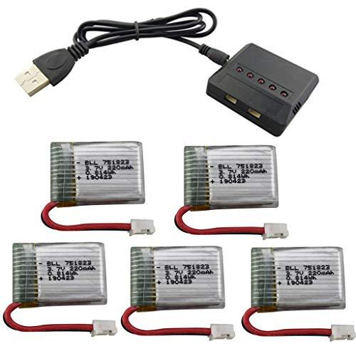 Fytoo 5PCS 3.7V 220mah Lipo Batería 5 1 Cargador