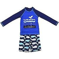 Niños Traje de Baño Manga Larga - Bañador 2 Piezas Ropa de Natación Nadar Camiseta y Pantalones Cortos