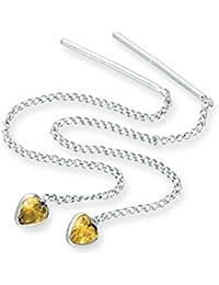 Sterlingsilber & CZ Kristall Herz Geburtsstein Durchzieher Ohrringe