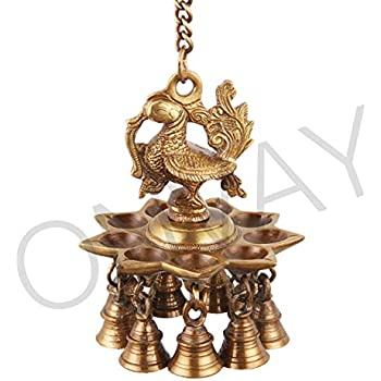 Buy Kartique Brass Hanging Table Diya Stand Parrot Design