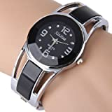 Bracelet Design Rhinestone Dial Stainless Steel Band Quartz Watch For Women, black
