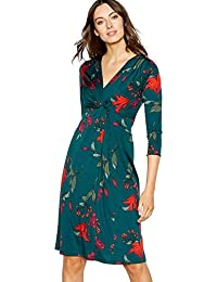 Debenhams The Collection Womens Bottle Green Floral Print Twist Front Knee Length Dress