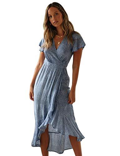 Modfine Damen Boho Lange Kleider V-Ausschnitt Sommerkleider Elegant Wickelkleid Rüschen Maxikleid Strandkleid mit Schlitz