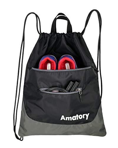 (Amatory Kordelzugbeutel Turnbeutel Sportbeutel Gymnastikbeutel Gymsack Trainingsbeutel Gymbag Gym Beutel Sackpack Drawstring Backpack Bag für Männer Frauen (Schwarz))