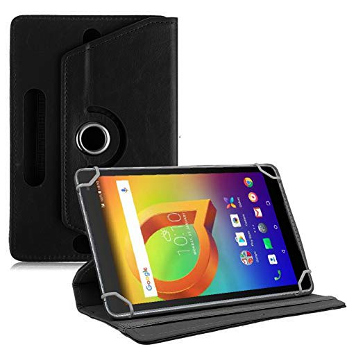 TGK 360 Degree Rotating Leather Rotary Swivel Stand Case Cover for Alcatel A3 10 10.1 inch Tablet (Black)