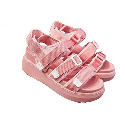 Sandali scarpe estive parte inferiore spessa velcro sandali romani doppio fondo pattini dell'allievo Pink