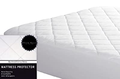 "Olivia Rocco Quilted Extra Deep Mattress Protector, Hotel Quality Fitted Mattress Protector's 12"" deep from RZK Textiles"