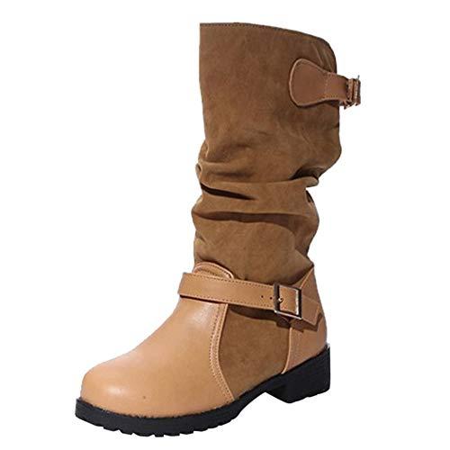 Übergröße Winterstiefel Damen,Elecenty Frauen Stiefel Gürtelschnalle Stiefeletten Boots Langschaftstiefel Lederstiefel Plateauschuhe Schlauchstiefel Winterboots