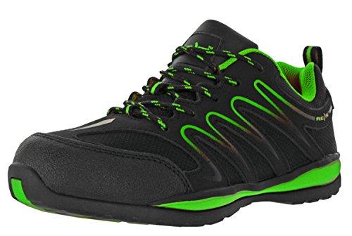 REIS Ecuador Arbeitsschuhe Berufs-Schuhe Ohne Stahlkappe, Rutschfeste Sohle, Kraftstoffbeständig, Farbe Grün, Größe: 37