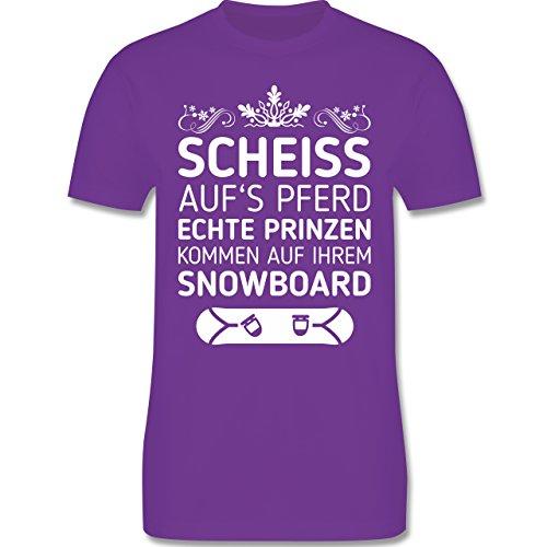 Wintersport - Scheiß aufs Pferd echte Prinzen kommen auf ihrem Snowboard - Herren Premium T-Shirt Lila