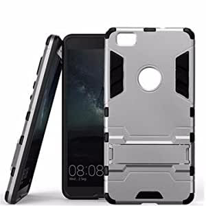TPU+PC Hybrid Shockproof Stand Hard Case Cover For HUAWEI P8 Lite-Light Grey