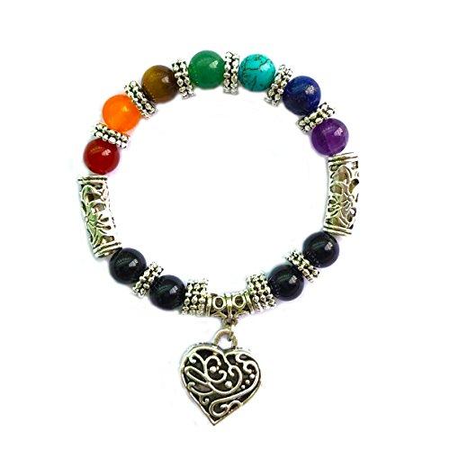 Achat Perlen 7 Chakras Energie Stein Armband Yoga Healing Balance Stein Armkette Elastisches Steinarmreif (Colour12)