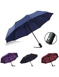 Suxman Paraguas Compacto y Resistente al Viento, Paraguas Plegable con Apertura y Cierre Automático,