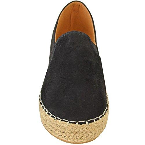 Femmes Dames Plat Espadrilles Semelle Légèrement Compensée À Enfiler Paillette Semelle Compensée Chaussures Pointure Noir Daim Synthétique