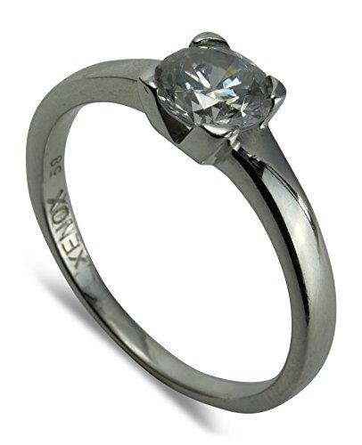 Xenox Damen Ring Verlobungsring Sterling Silber 925 Zirkonia Solitär Größe 58 S07-A0310