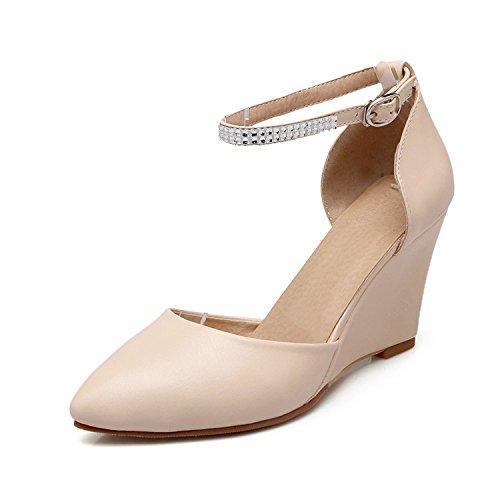 ZHZNVX Neue High Heels Baotou Einzelnen Schuh Tasche mit Spitzen Koreanischen Version der Schnalle mit Einem Hohlen Keil Sandalen Weiblich, Beige, 43 (Bridal Keil Flip Flops)