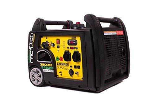 Champion Dual Fuel Inverter 3500W Benzin Generator 3150W Gas Stromerzeuger EU mit E-Start Notstrom, Gelb-Schwarz
