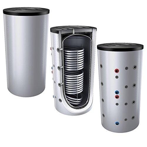 1000L Pufferspeicher / Heizungsspeicher - Warmwasserspeicher für Heizungswasser, mit 2 Wärmetauschern (auch als Solarspeicher geeignet), inkl. Isolierung. Für Trinkwasser siehe emaillierte EWS8B Reihe