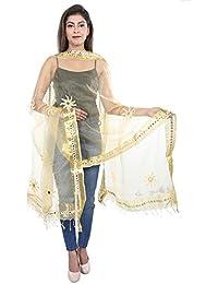 BILOCHI'S Tissue Mirror Work Party Wear Dupatta,chunni,stole,scarves(Length:99 Inche,Golden)
