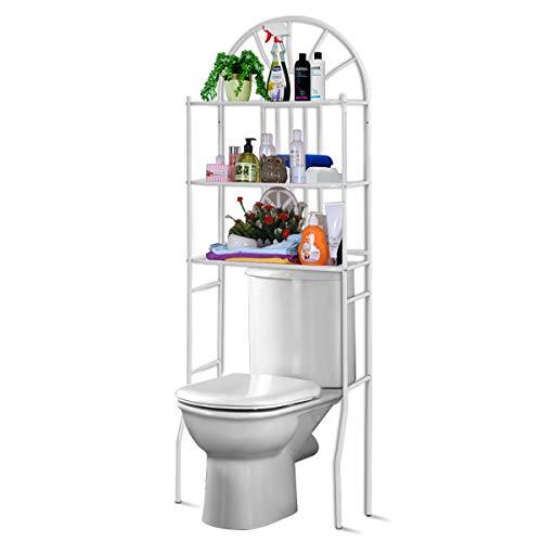 #COSTWAY Toilettenregal WC-Regal Waschmaschinenregal Badregal Badezimmerregal Lagerregal Metall weiß#