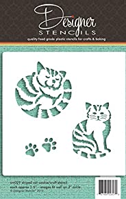 Striped Cat Cookie and Craft Stencil CM029 by Designer Stencils