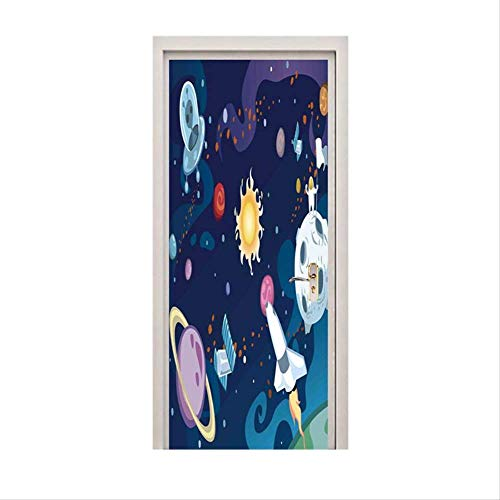 Zkamang Cartoon Tür Aufkleber, Sun Space Planet Rakete Wandaufkleber, PVC Tür Wandbilder Poster für Kinder Zimmer Home Dekoration Tür Wickeln 90x200cm