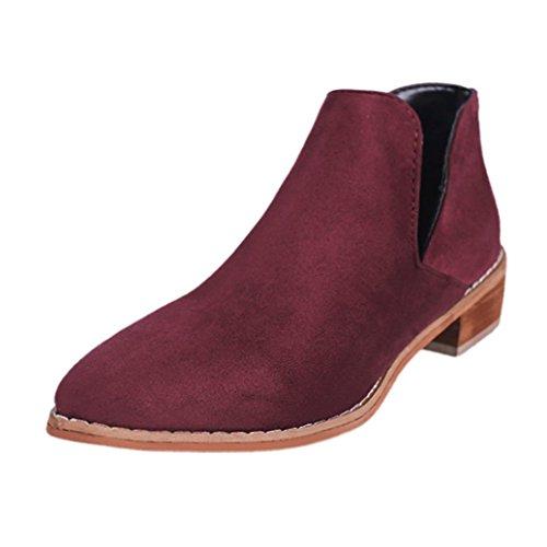 TPulling Herbst Und Winter Frühling Modelle Schuhe Mode Damen Spitz Zu Rau Mit Niedrigen Stiefeln Mit Nackten Stiefeln Wärme Outdoor Booties Ankle Lässige Schuhe Martin Stiefel (38, Rot) (Bootie Niedriger)