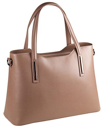 PELLE ITALY Leder Handtasche PI10085 Damen Henkeltasche Tasche Echt Leder 36x26x15 cm (BxHxT), Farbe:Taupe Taupe