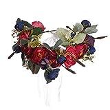 Lia Vintage Haarschmuck, Kranz, Hochzeit, Blumen elegant Braut cool zum Dirndl, Retrostil Haarkamm Diadem Haarschmuck klar, Perlen, bunt Seidenblumen rot/blau